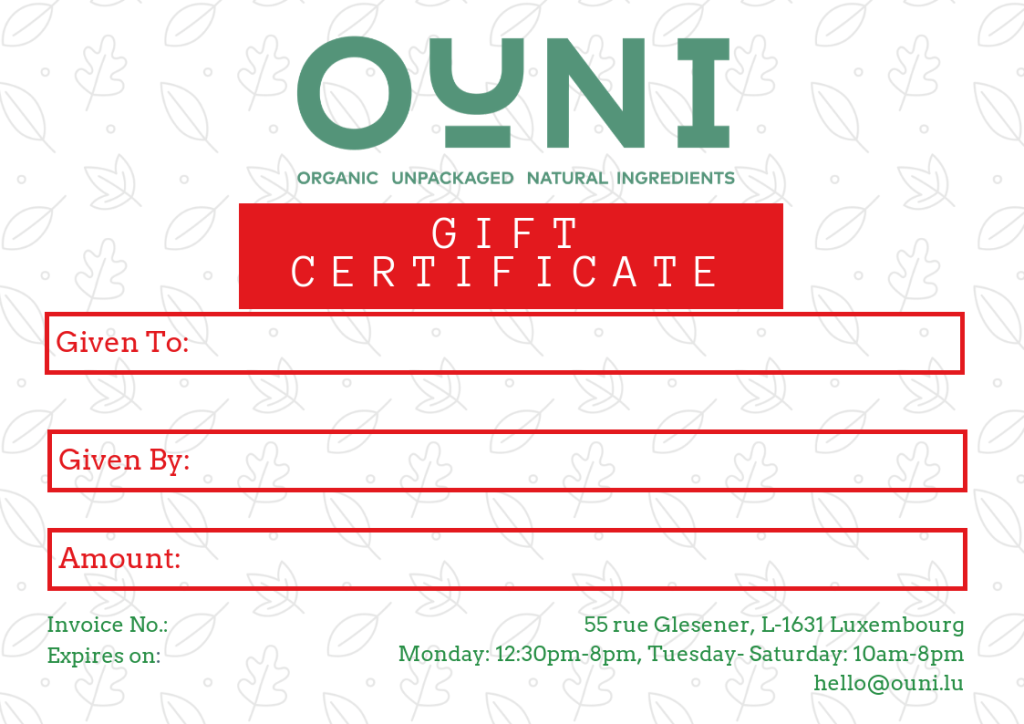 Gift certificate OUNI
